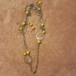 Yellow long necklace and earrings